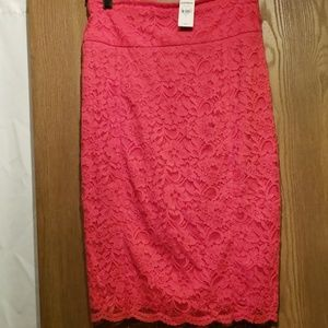 Express red lace skirt